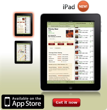 OpenTable for iPad: Available on the App Store. Get it now.