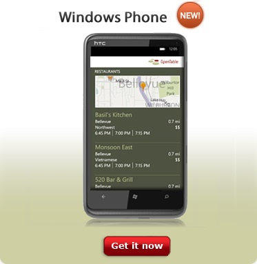 OpenTable for Windows Phone 7