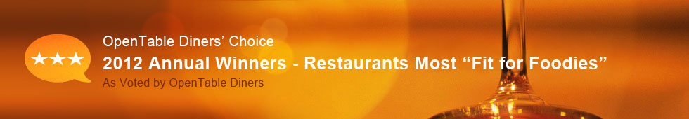 Top 100 Fit for Foodies Restaurants - 2012 Diners' Choice Winners