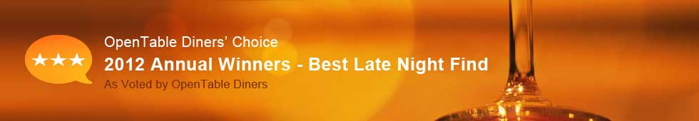 Top 100 Late Night Find Restaurants - 2012 Diners' Choice Winners