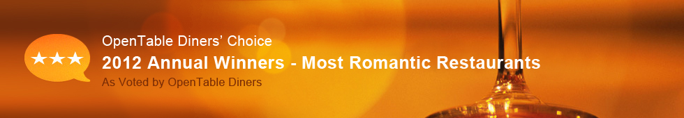 Top 100 Most Romantic Restaurants - 2012 Diners' Choice Winners